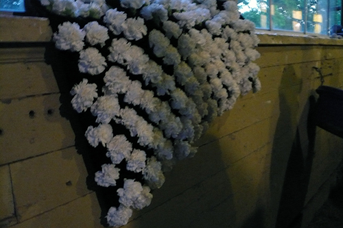 Blanket of Belmont carnations draped over a barn window sill