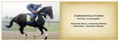 Banner advertising Rachel Alexandra wines